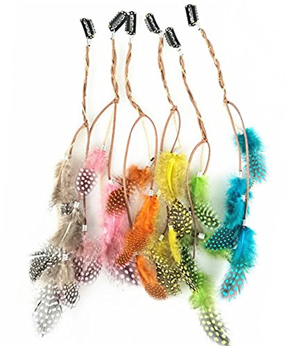 Fodattm 6PCS Lady Women Handmade Colourful Boho Hippie Hair Extensions with Feather Clip Comb Hairpin Headdress Headband DIY Accessories (Hippie-diy)