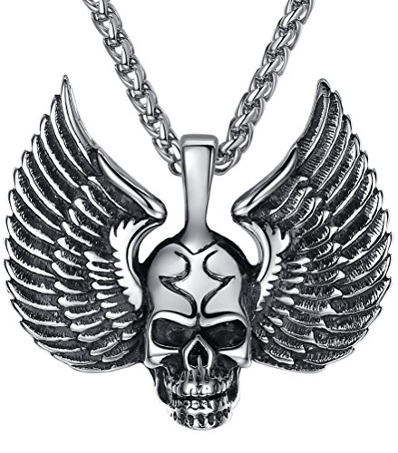 (Aoiy Men's Stainless Steel Gothic Wing Skull Biker Pendant Necklace, 24
