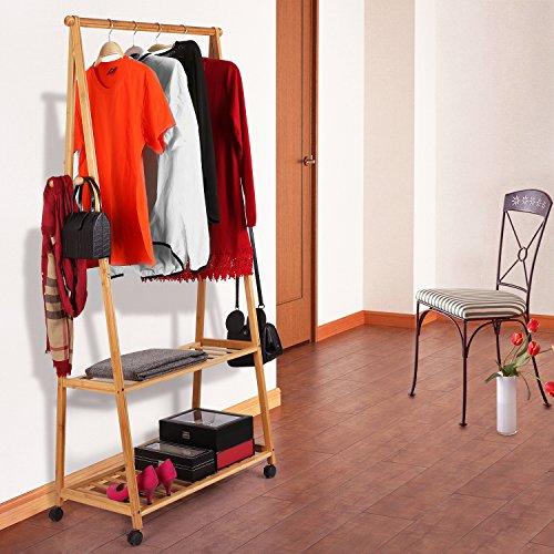 d54ffcbde01f0 HOMFA Bamboo Coat Rack Garment Rack Coat Clothes Hanging Rail 2 Tiers 4  Hooks for Shoe and Hat Rack Laundry Storage Shelves 77 166 44cm   Amazon.co.uk  ...