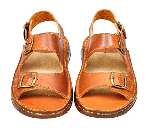 Cognac 816 Confortevoli Sandali Scarpe di Bufalo Ortopedici Uomo Pelle in Vera Modello qPxwUqvrd