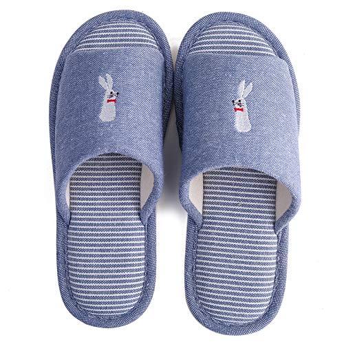 Lin bleu Maisons Pantoufles Et pour L'Intérieur Hommes Coton des flip flop Socles Et en À Femmes en Et AqB8gwTW
