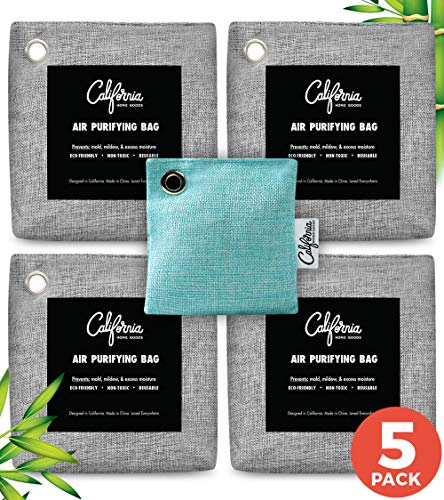 Large Bamboo Charcoal Air Purifying Bag 5-Pack Bundle (4X 500g & 60g) Charcoal Bags Odor Absorber - Odor Eliminators for Home - Room Air Freshener - Car Freshener - Activated Charcoal Odor Absorber
