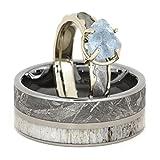 Aquamarine, Gibeon Meteorite, 10k White Gold Engagement Ring and Gibeon Meteorite, Deer Antler Titanium Band, Couples Wedding Set, M8-F5.5