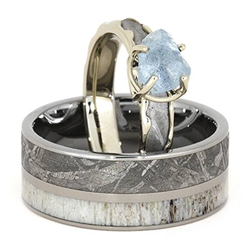 Aquamarine, Gibeon Meteorite, 10k White Gold Engagement Ring and Gibeon Meteorite, Deer Antler Titanium Band, Couples Wedding Set, M8-F5.5 by The Men's Jewelry Store (Unisex Jewelry)