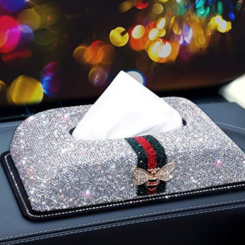 M's Bling Bling Luxury Crystal Handmade Glitter Home Decorative Tissue Holder Box/Tissue Cover case for Home or Office (Classic White)