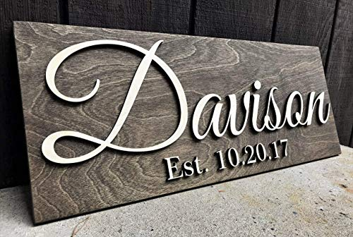 Custom Wood Sign Personalized Wedding Gift Wood Wall Art Personalized Sign Last Name Sign Established Sign Wooden Signs Bridal Shower Gift Anniversary Gift (Signs Home Established)