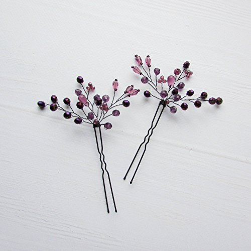 Plum And Silver Wedding (Kercisbeauty Purple Beaded Hair Pins for Wedding Bride Bridesmaid Bridal Violet Hair Piece Dancing Prom Accessory for Teen Girls Women Evening Party Pack of)
