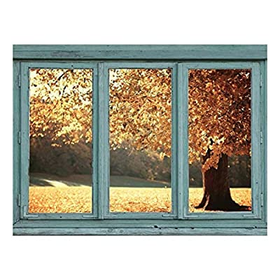 Amber Colored Tree in Autumn Golden Colored Leaves Drift to The Ground in Fall Wall Mural