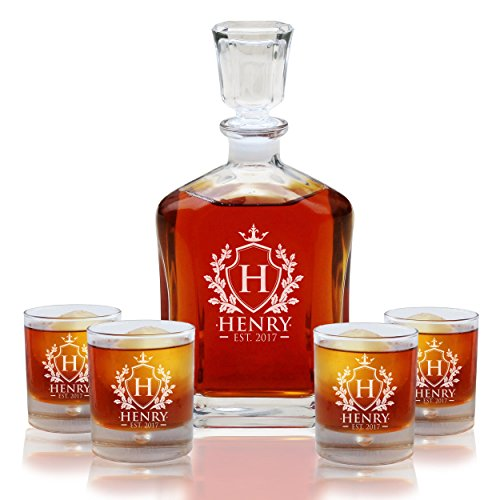 Personalized Custom Engraved Whiskey Decanter Set - Decanter and 4 Glasses Gifts Set - Custom Engraved Monogrammed with Shield Desgin -