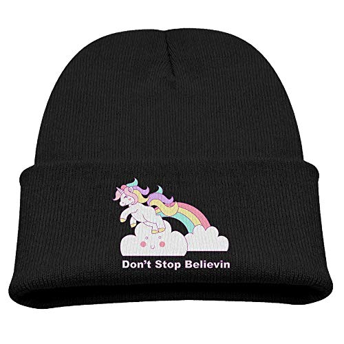Banana King Donâ€t Stop Believin' Unicorn Logo Baby Beanie Hat Toddler Winter Warm Knit Woolen Watch Cap for -