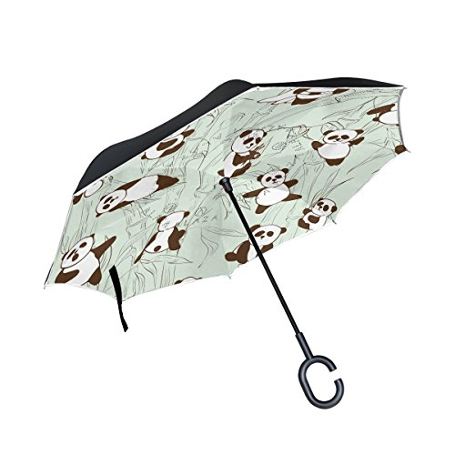 Bamboo Vintage Umbrella (ALAZA Inside Out Folding Cute Panda Bamboo Inverted Umbrella, Large Double Layer Outdoor Rain Sun Car Reversible Umbrella)