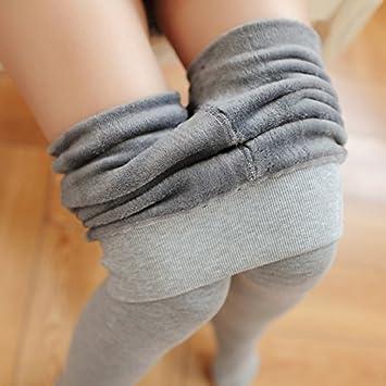 LVLIDAN Leggings forro polar Invierno Cintura Mujer Incluso los calcetines engrosamiento fuera de desgaste slim un tamaño gris: Amazon.es: Deportes y aire ...