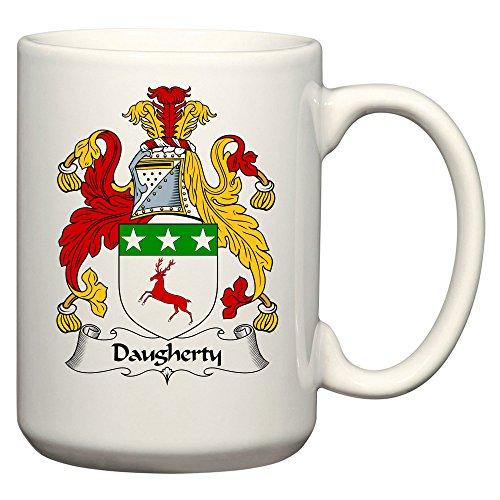 Daugherty Coat of Arms/Daugherty Family Crest 15 Oz Ceramic Coffee/Cocoa Mug by Carpe Diem Designs, Made in the U.S.A. - Heraldic Designs Cd
