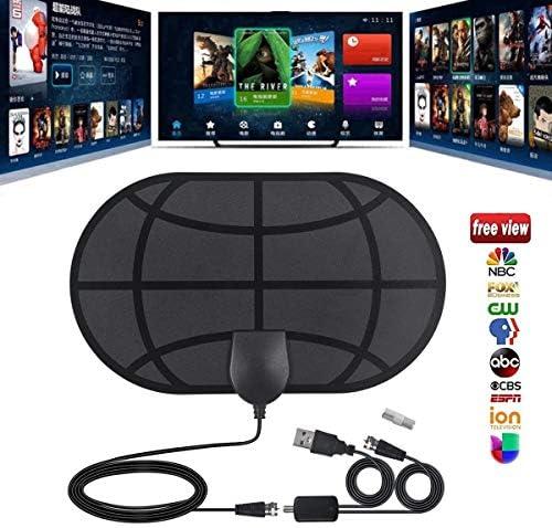 YanLin Antena Interior TV, Antena de TV de Rango Amplificado de 50Millas Antena TDT con Amplificador de Señal y Cable Coaxial de 10 FT, Adecuado para 4K 4KP HD VHF UHF: Amazon.es: