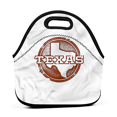 (Large Size Reusable Lunch Handbag Texas,United States Grungy Stamp,pink insulated lunch bag for women)