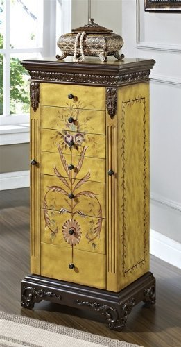 powell masterpiece handpainted wood jewelry armoire antiqued parchment amazoncom antique jewelry armoire