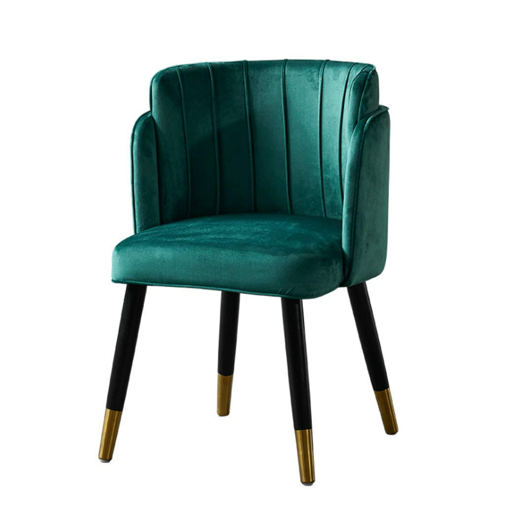 YANYDO Leisure Armchair Fabric Dining Chair Wooden Foot Household Sponge Cushion Green -60×58×82CM