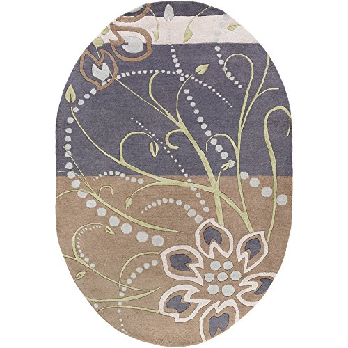 Surya Athena ATH-5128 Hand Tufted Wool Oval Floral and Paisley Area Rug, 6-Feet by 9-Feet