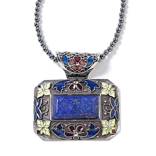 Hypoallergenic Lapis Lazuli Enameled Pendant with Hematite Beads Necklace for Women 18