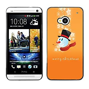 YOYO Slim PC / Aluminium Case Cover Armor Shell Portection //Christmas Holiday Merry Happy Snowman 1198 //HTC One M7