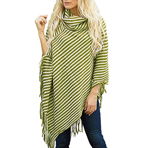 Yebeau Women's Ponchos Shawls Capes Irregular Hem Fringed Striped Cowl Neck Pullover Sweater Knitted Wrap Coats Tops
