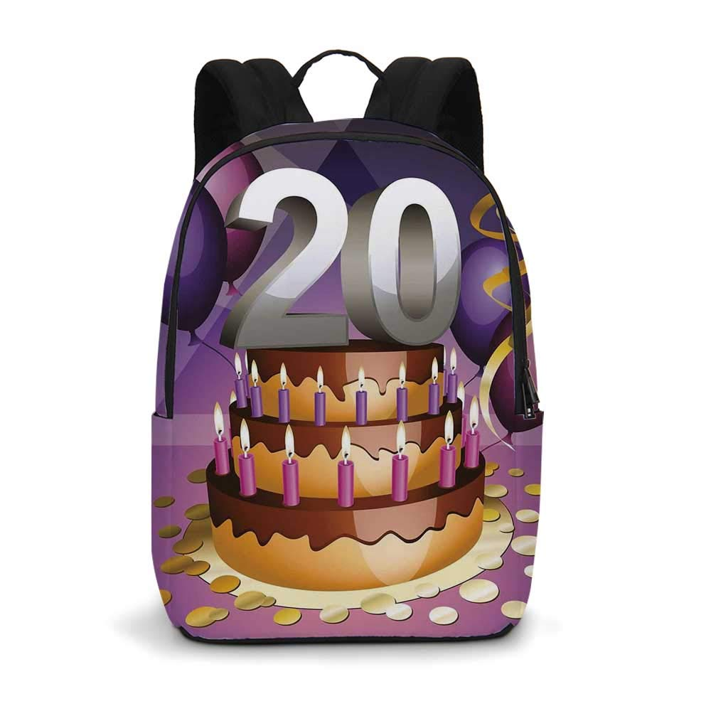 20th Birthday Decorations Modern simple Backpack,Cartoon Print Birthday Cake Golden Frosting and Candles for school,11.8''L x 5.5''W x 18.1''H