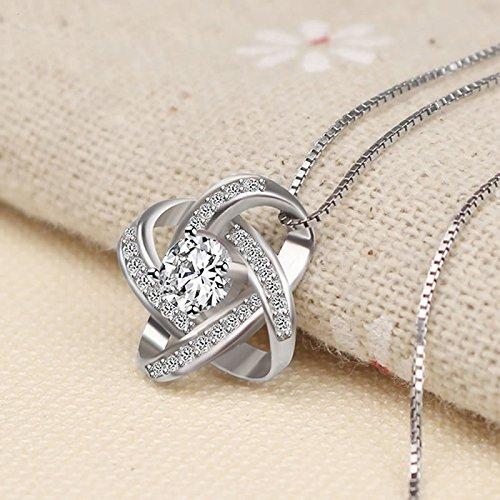 Joyfulshine Women Necklace 925 Sterling Silver Zirconia Crystal Eternity Earrings and Pendant Necklace Jewelry set