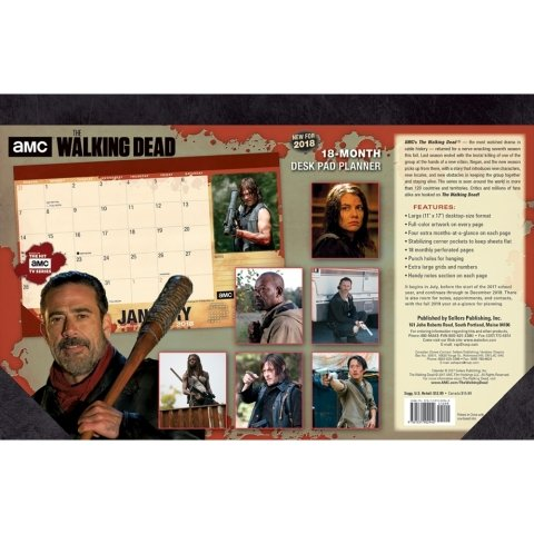 Walking Dead Blotter 2018 Desk Pad Calendar