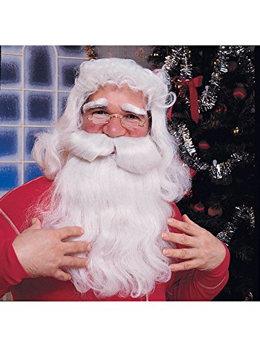 Rubie's Deluxe Santa Beard and Wig Set, White, One Size]()