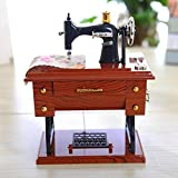 MUBODH New Small Music Boxes Plastic Vintage Music Box Mini Sewing Machine Style Mechanical Birthday Gift Table Decor 127.716Cm Multicolor