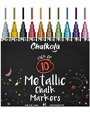 Metallic Chalk Pens - Pack of 10 Chalk Markers - for Chalkboard, Whiteboard, Blackboard, Window, Labels, Bistro, Glass - Wet Wipe Erasable - 6mm Reversible Bullet & Chisel Tip