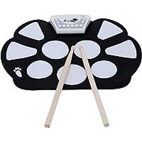 Ammoon Elektronisches Schlagzeug, tragbar, Silikon-Flächen, faltbar, mit Stick, Aufnahmefunktion