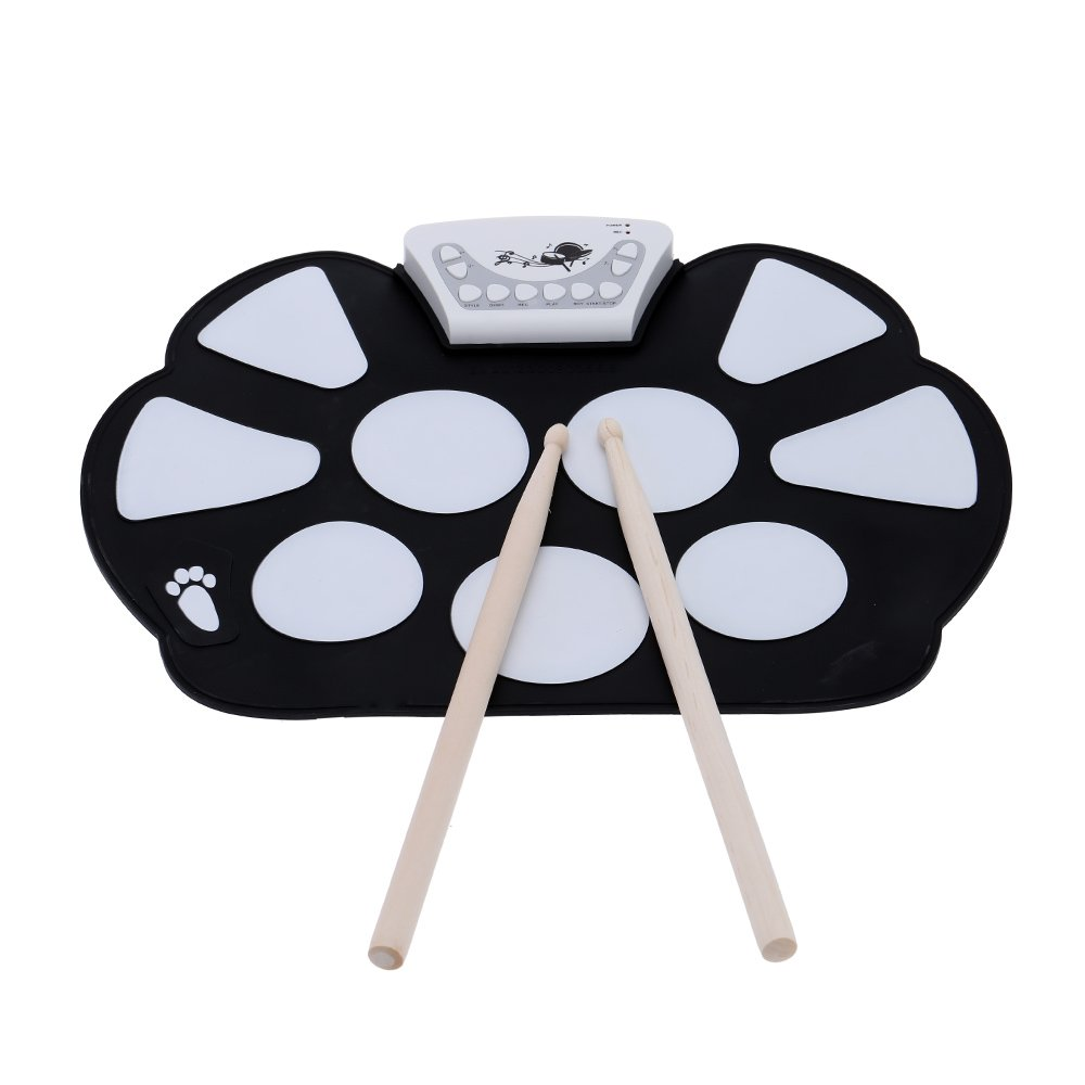 ammoon Portable Electronic Roll up Drum Pad Kit Silicon Foldable with Stick