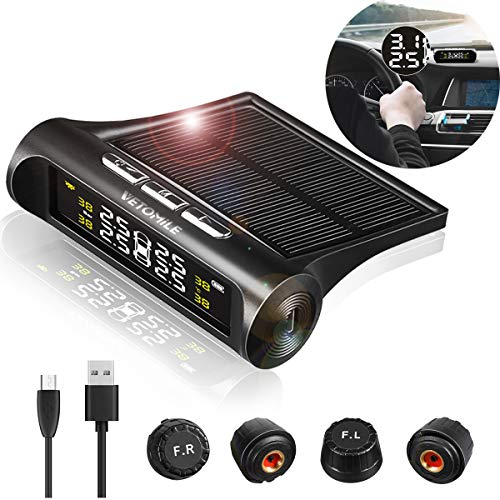 VETOMILE Wireless Tire Pressure Monitoring System Solar&USB Power TPMS with
