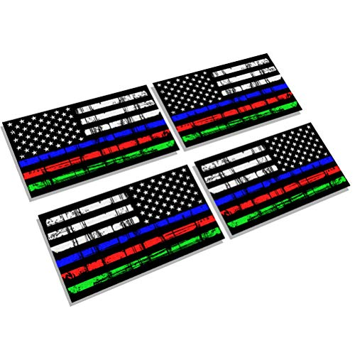 Creatrill Reflective Tattered Thin Blue Red Green Line Decal Matte Black – 2 Pairs 3x5 in. American USA Flag Decal Stickers for Cars, Trucks, Hard Hat, Support Police Fire Officers Military Troops -