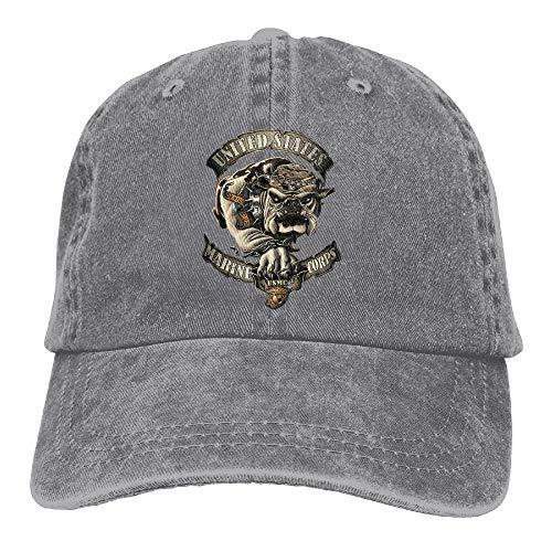 Bulldog Twill Hat - CAPADANA Marine Corps Bulldog USMC Mens Cotton Adjustable Washed Twill Baseball Cap Hat