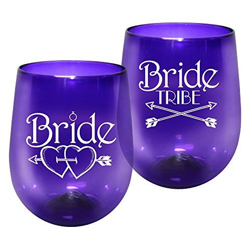 Barware 12oz Plastic Stemless Wine Glass - Bride Tribe Print for Bachelorettes, set of 12 - Shatterproof Tumbler, Translucent Purple ()