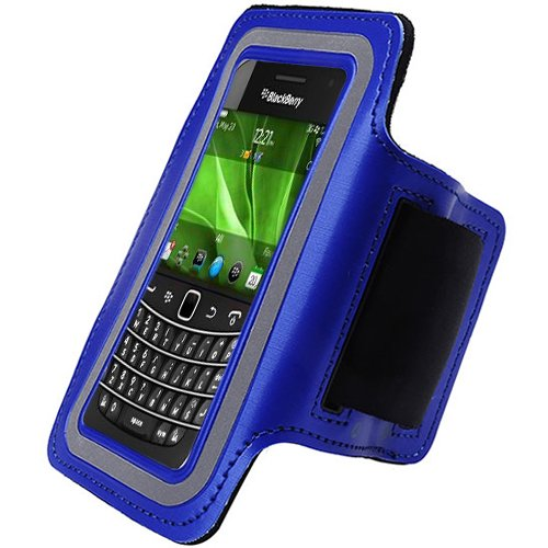 Blue Black ArmBand Workout Case Arm Band Cover Screen protector For Blackberry Bold 9900 9930 with Free Pouch