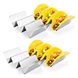 Taco Holder Stand, HapWay 4 Pack Stainless Steel Taco Truck Tray Style, Mexican Food Taco Rack Shells, Safe for Baking, Dishwasher and Grill Safe