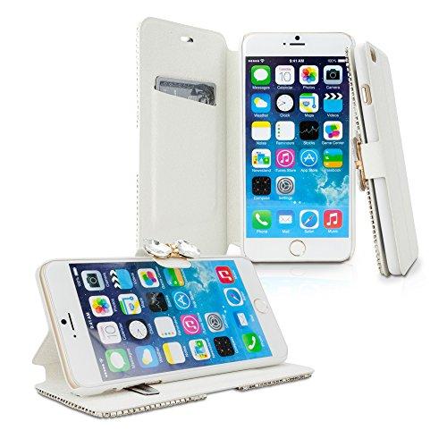 iPhone 6Cas, BoxWave® [dazzleme Case Étui portefeuille en similicuir] Sparkling Housse W/cartes de crédit pour Apple iPhone 6, 6S–Or rose
