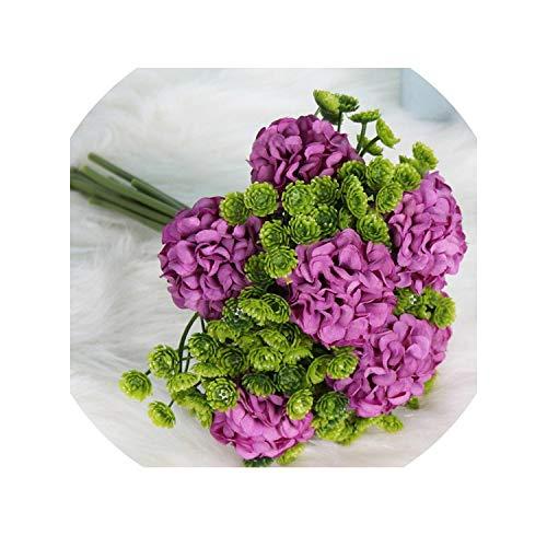 Mini Hydrangea Head Silk Flowers Artificial Hydrangea Plants Bridal Bouquets Wedding Home Party Decoration Hydrangea Macrophylla,Purple ()