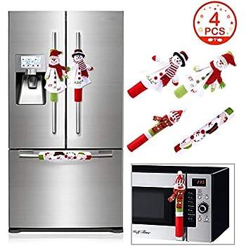OurWarm Christmas Refrigerator Handle Covers Set of 4, 3D Cute Snowman Fridge Door Cover Kitchen Appliance Handle Covers for Kitchen Christmas Decorations
