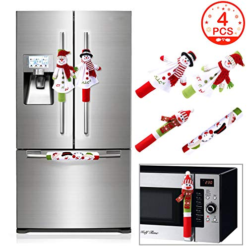OurWarm Christmas Refrigerator Handle Covers Set of 4, 3D Cute Snowman Fridge Door Cover Kitchen Appliance Handle Covers for Kitchen Christmas Decorations