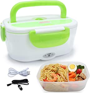 Vech Electric Lunch Box, Portable Food Heater Car and Home Dual Use with BPA Free PP Plastic Container Food Grade Material 110V&12V40W, Food Warmer Heater 1.5L, Spoon and 2 Compartments Included …