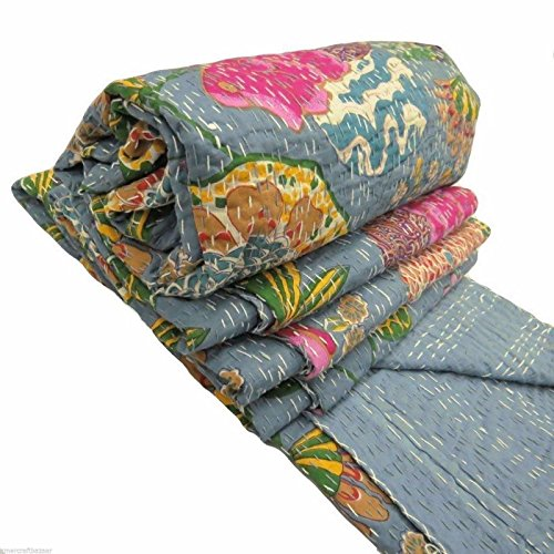 Floral Print Decorative Kantha Stitch Quilt Pure Cotton Reversible Bedspread Gray Gudri Twin Size (Floral Print Quilt)