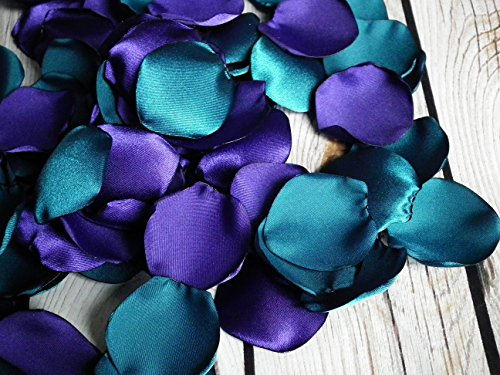 100 PURPLE and TEAL satin rose petals, ready to ship