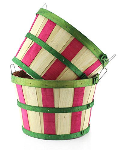 Round Wooden Half Bushel Baskets (2-Pack); Large Wood Farm Market Baskets for Decorating, Gardening, & Fall Seasonal Displays ( Natural w/ Green & Vertical Red Stripes, Tall) (Red Basket Farm)