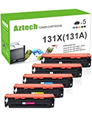 $44 » Aztech Compatible Toner Cartridge Replacement for HP 131A 131X CF210X CF210A CF211A CF212A CF213A (Black Black Cyan Yellow Magenta, 5-Packs)