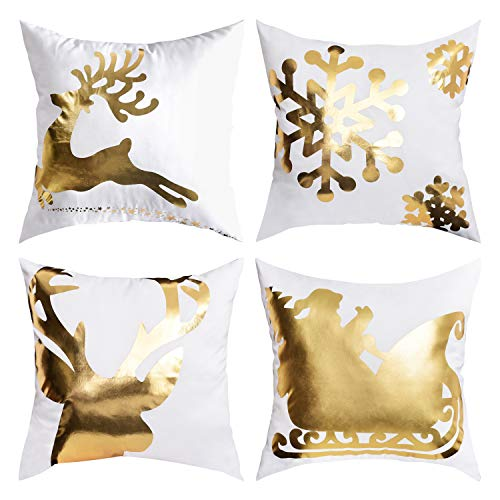 Christmas Bronzing Pillow Cover Merry Christmas Throw Pillow Case Elk and Snowflakes Throw Pillow Case Modern Cushion Cover Square Pillowcase Decoration for Christmas Sofa Bed Chair Car or Daily Use - Merry Christmas Throw Pillow