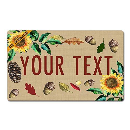 (Artsbaba Doormat Personalized Your Text Door Mat Sunflower Pine Cones Doormats Monogram Non-Slip Doormat Non-Woven Fabric Floor Mat Indoor Entrance Rug Decor Mat 30
